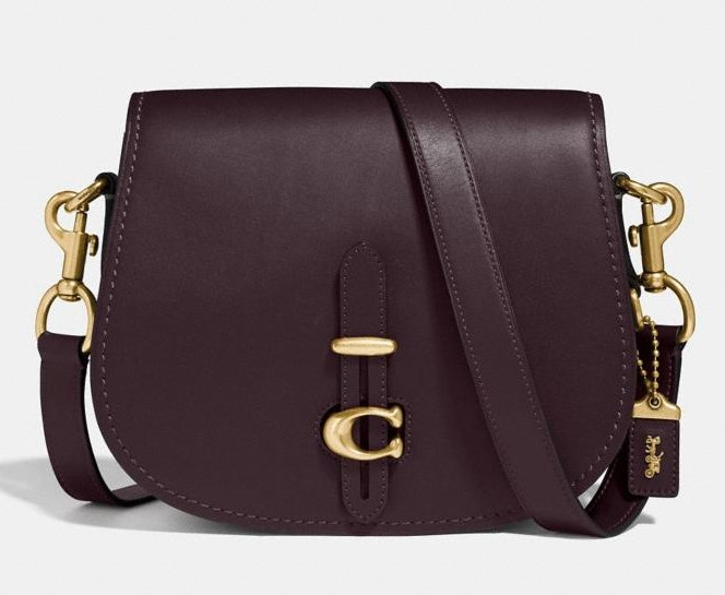 maroon coach saddle bag