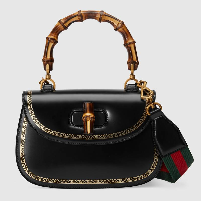 gucci bamboo handle bag black
