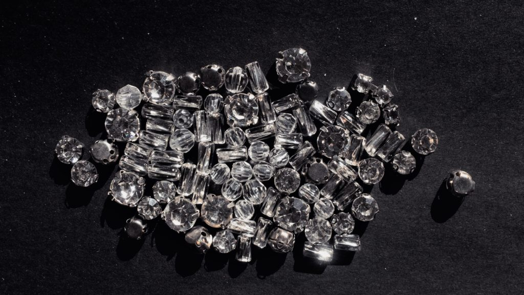 pile of diamonds on a black background