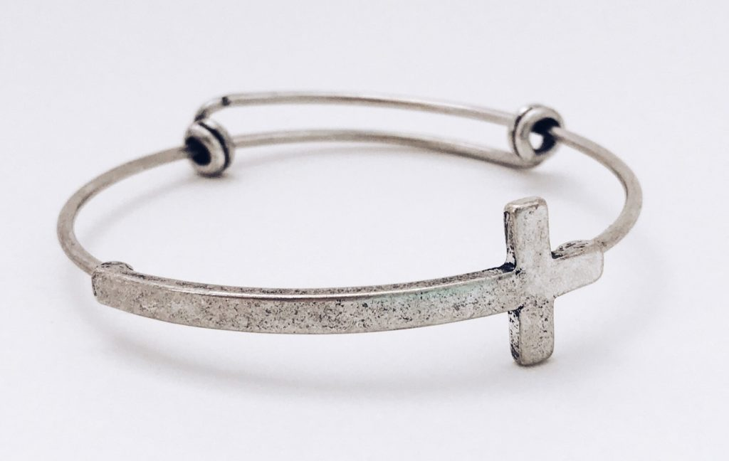 tarnished sterling silver cross bracelet
