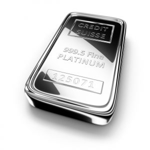 Precious metals - a Platinum ingot from Credit Suisse.