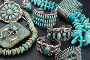 cluster of turquoise jewelry
