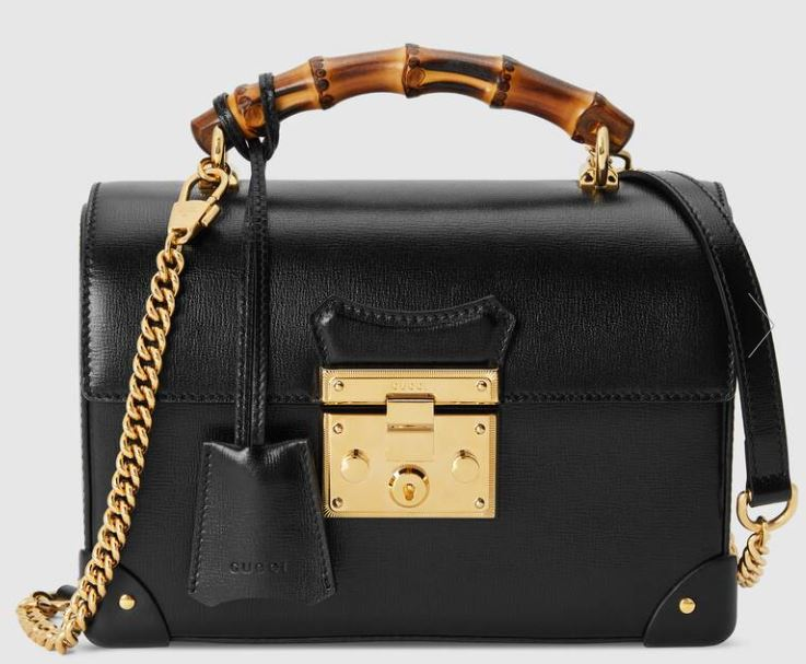 black gucci bamboo padlock bag